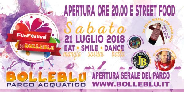 Sabato 21 luglio parco aperto la sera per il Fun Festival 2018